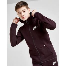 Nike Tech Essential Full Zip Hoodie Junior, Burgundy/White